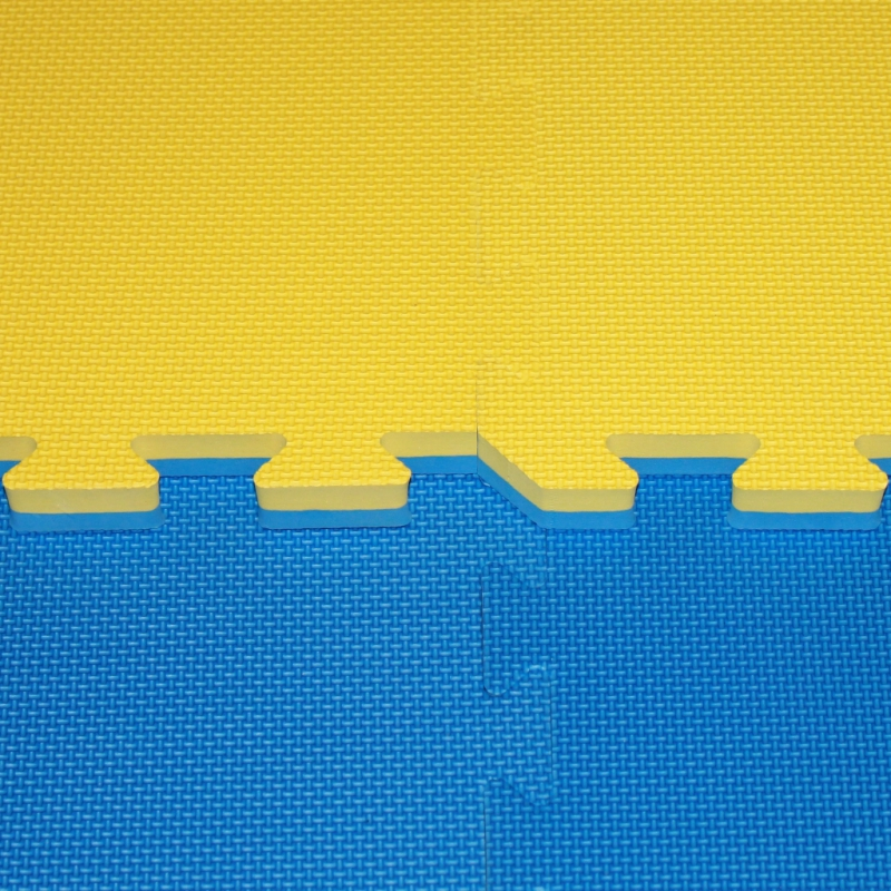 Tatami a žíněnky - Tatami Cross - 2,5 cm- modrá/žlutá
